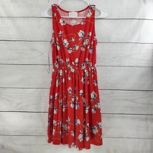 French Grey Floral Fit and Flare Mini Dress